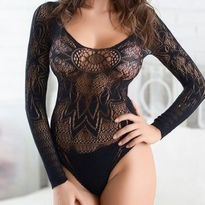 ON SALE! Long-Sleeved Black Lace Body-Stocking